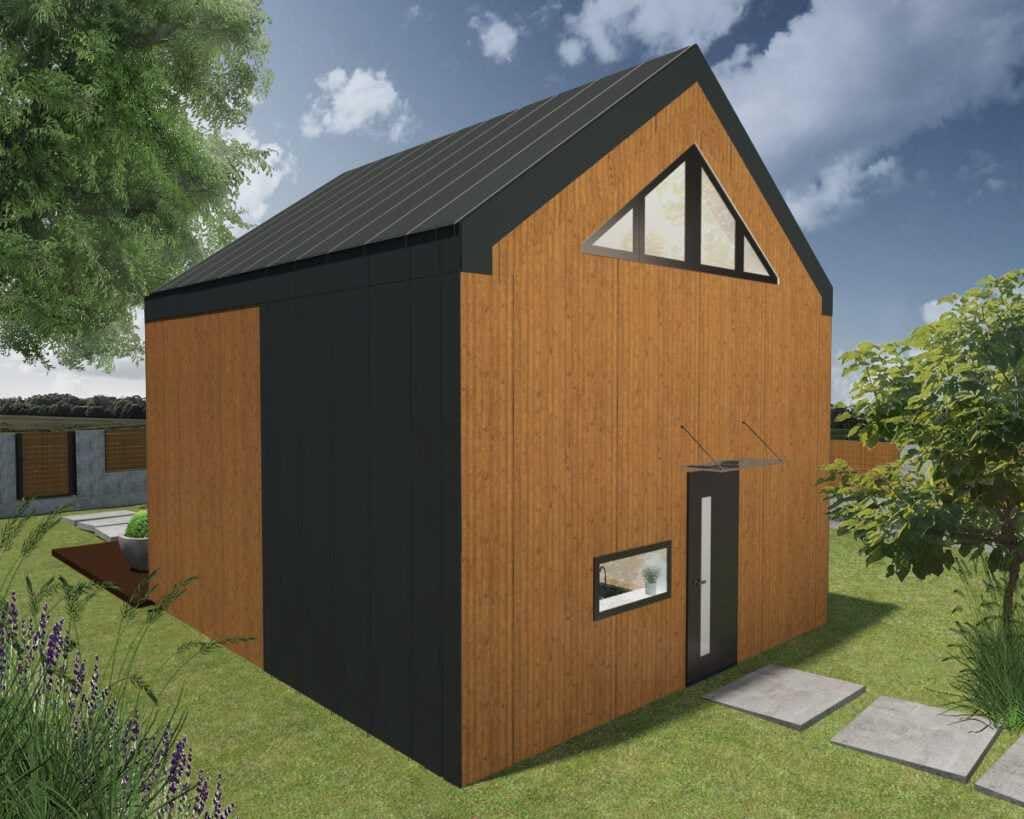 Domek bez pozwolenia na budowę LYKKE bok i tył